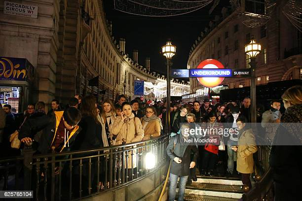 Piccadilly Circus Tube closed as London's West End suffers mass power cut as stores offer discounted items in their 'Black Friday' sales on November...