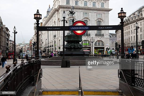 piccadilly circus underground subway entrance sign, london, england, uk - entrance sign stock photos and pictures