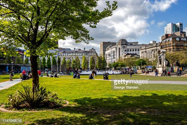 piccadilly gardens manchester - manchester england stock pictures, royalty-free photos & images