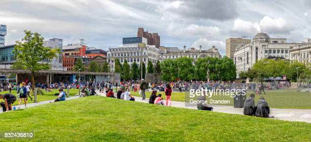 piccadilly gardens - manchester uk stock photos and pictures