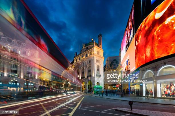 piccadilly light trails - piccadilly stock pictures, royalty-free photos & images