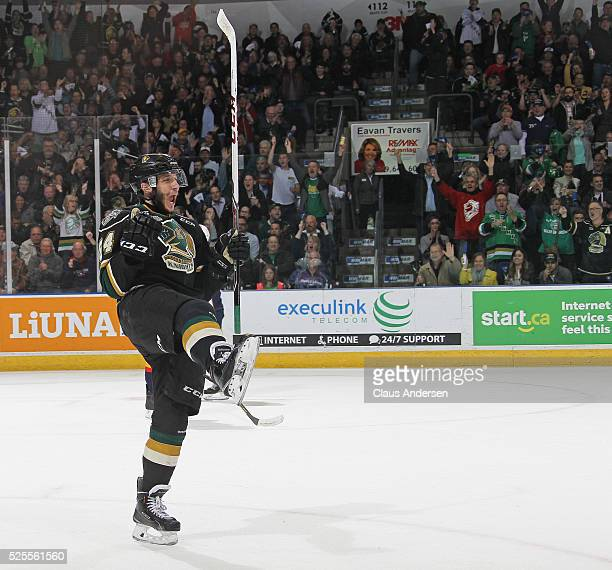 Piccinich of the London Knights celebrates a goal against the Erie Otters during game four of the OHL Western Conference Final on April 27 2016 at...