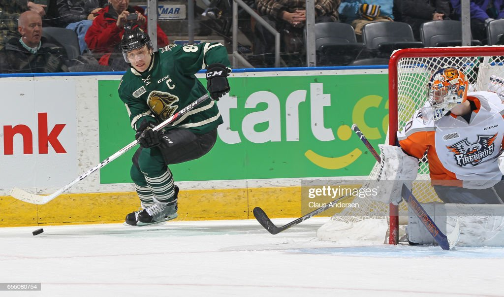 JJ Piccinich #84 of the London Knights makes a pass against the Flint Firebirds during an OHL game at Budweiser Gardens on March 17, 2017 in London, Ontario, Canada. The Knights defeated the Firebirds 7-3.