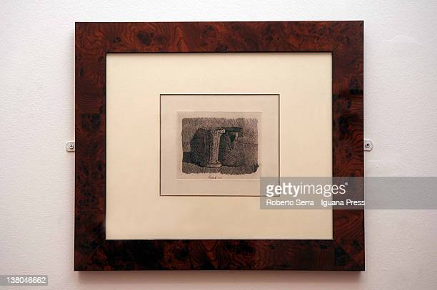 "Piccola Natura Morta con Tre Soggetti"" etched engraving of 1961 by italian painter Giorgio Morandi lends by Cristina and Giuliana Pavarotti to..."