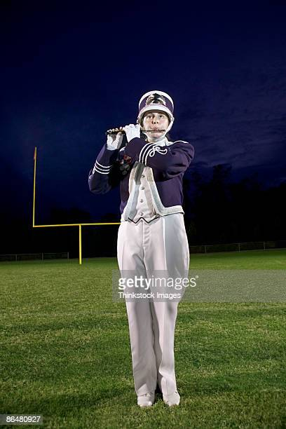 Piccolo player in marching band