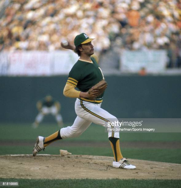 Picher Ken Holtzman of the Oakland Athletics pitches to the Los Angeles Dodgers during the 1974 World Series at the OaklandAlameda County Coliseum on...