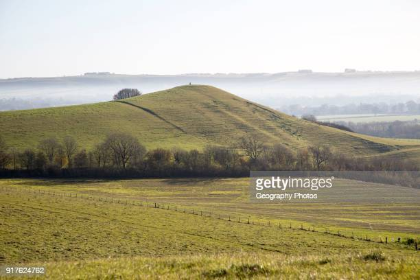 Picked Hill chalk outlier landscape misty valley floor Vale of Pewsey from Woodborough Hill Wilcot Wiltshire England UK