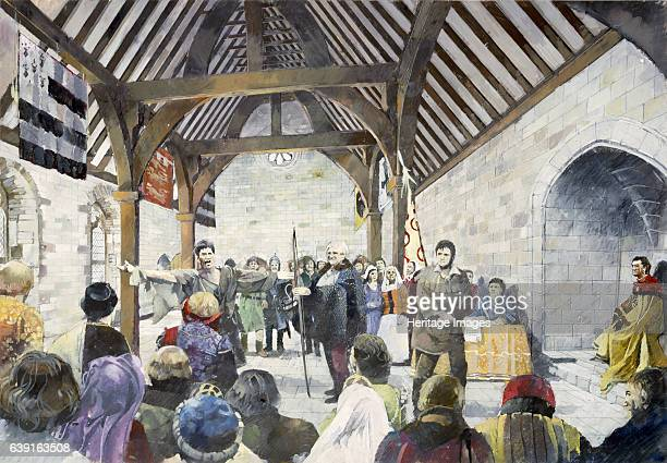 Pickering Castle c14th century Interior reconstruction drawing of the New Hall in use as a court room Presidential chair on right Originally a timber...