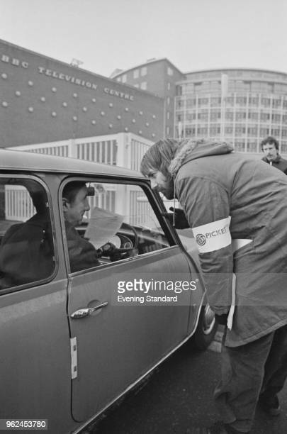 A picket giving out handouts during a strike at BBC Television Centre White City London UK 22nd December 1978