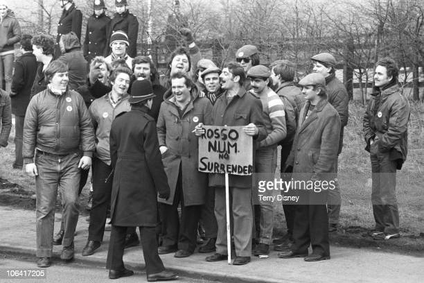 Pickets taunt the police during the miners' strike on March 20, 1984.