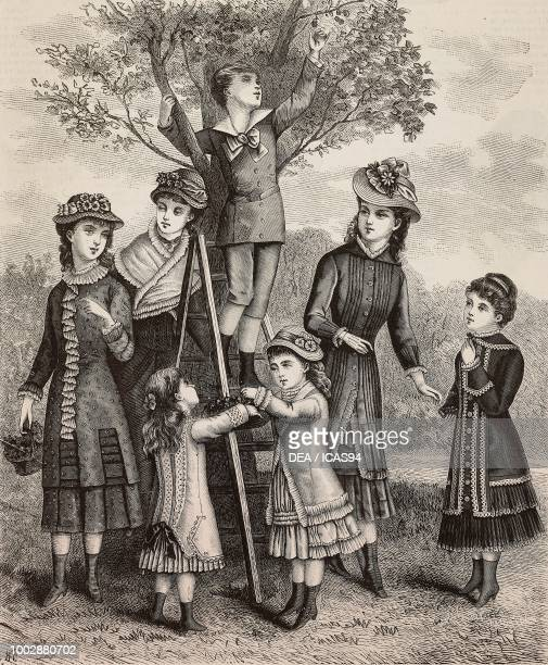 Picking cherries clothes for children and young girls Mademoiselles Hunsinger designs engraving from La Mode Illustree No 27 July 4 1880