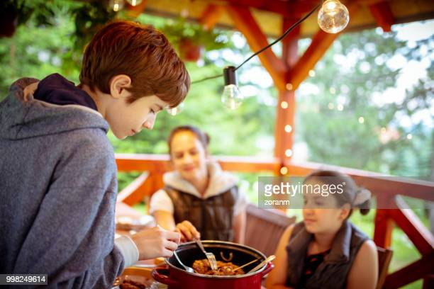 picking meat from a barbecue dish - gazebo stock pictures, royalty-free photos & images