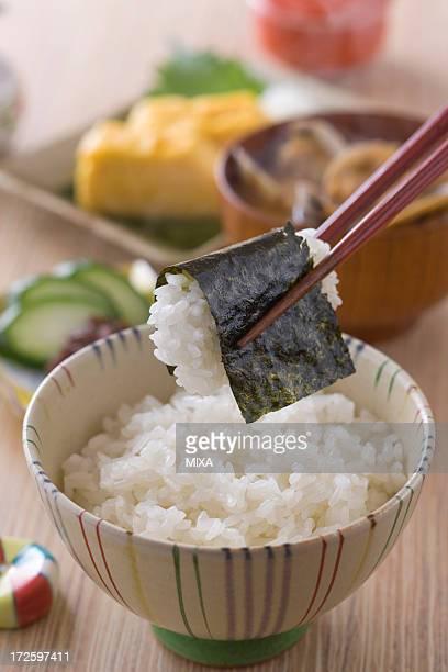 Picking Nori and Rice with Chopsticks