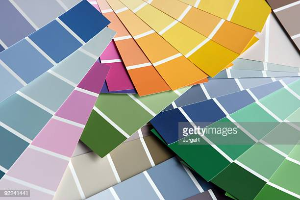 picking the right paint paint sample color swatch - artist's palette stock photos and pictures