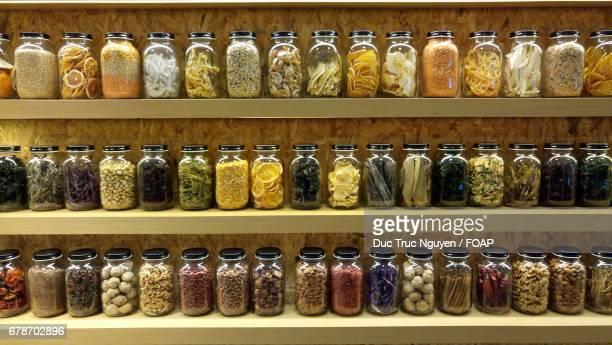 Pickle jars on shelf