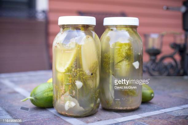 pickled cucumbers in jars - david canning stock pictures, royalty-free photos & images