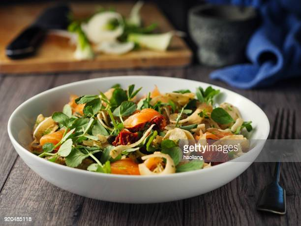 pickled fennel salad with pea shoots and smoked salmon