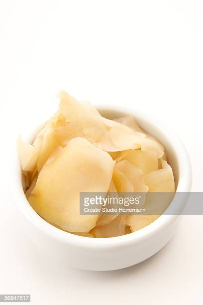 pickled ginger, elevated view - pickled ginger stock pictures, royalty-free photos & images