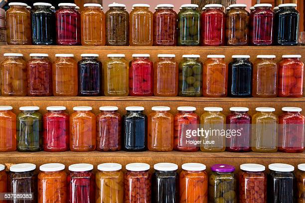 Pickled vegetables in jars at souvenir shop