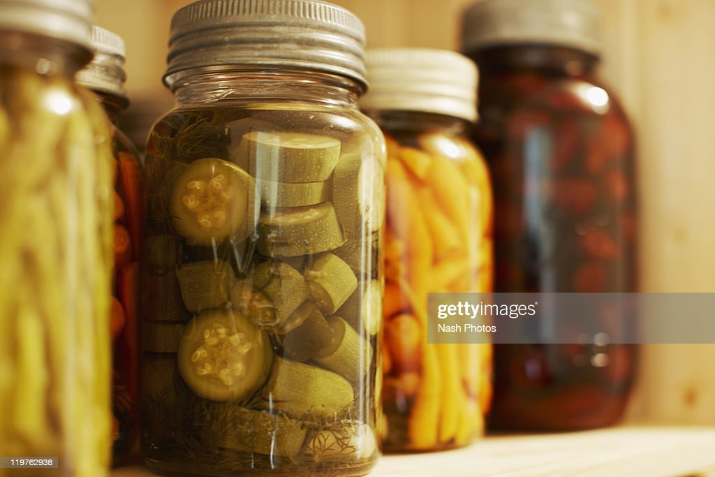 Pickled vegetables on shelf : Stock Photo