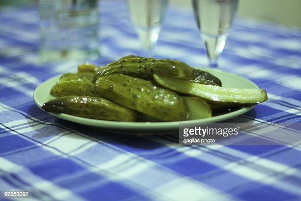 pickled yum - sliced pickles stock photos and pictures