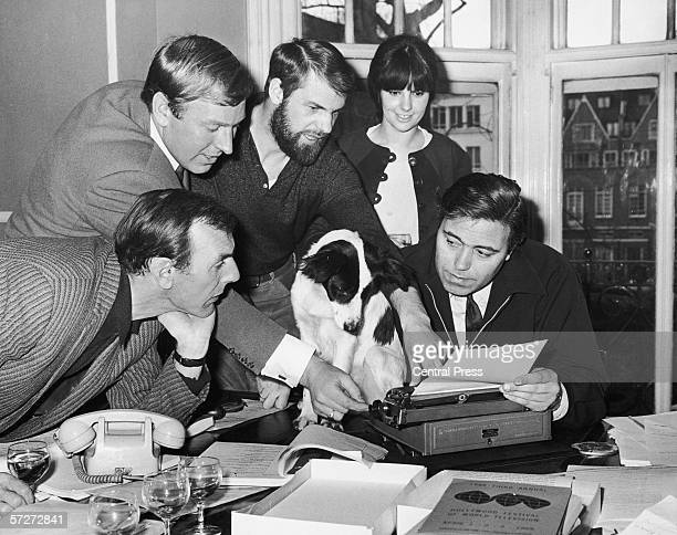 Pickles the dog who found the stolen World Cup trophy is offered a part in the comedy film 'The Spy with a Cold Nose' 29th March 1966 With him are...
