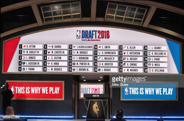 Picks one through 30 are seen on the board at the conclusion of the first round during the 2018 NBA Draft at the Barclays Center on June 21 2018 in...