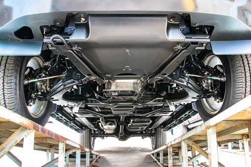Pickup car chassis bottom view 924455456