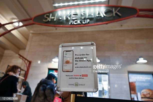 Pick-up counter at Shake Shack in Grand Central Terminal is seen as the coronavirus continues to spread across the United States on March 16, 2020 in...