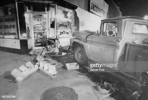 Pickup hits building after traffic accident This pickup truck crashed into Jackson Drug Co 290 S Downing St about 1 am Friday after colliding with a...
