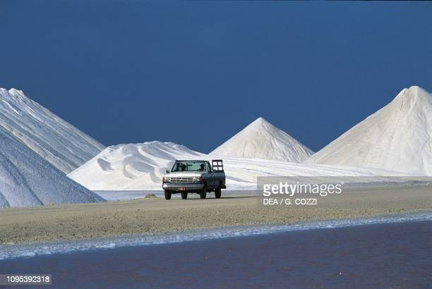 Pick-up in the saltworks of the Antilles International Salt Company, Bonaire Island, Dutch Caribbean.