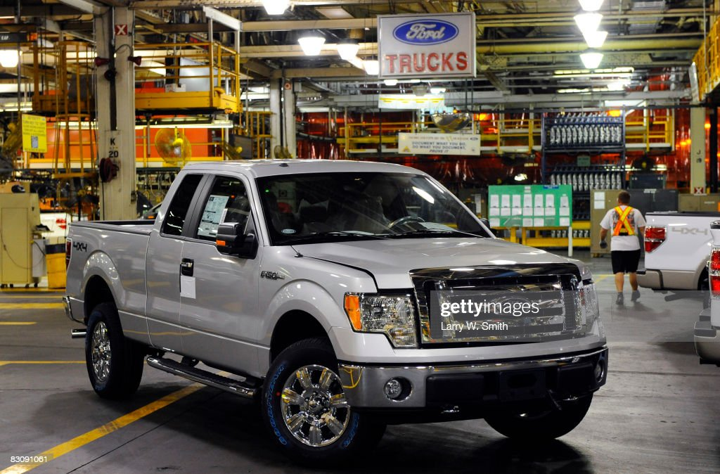 A F-150 pickup sits on the assembly floor at the Kansas City Ford Assembly plant October 2, 2008 in Claycomo, Missouri. Ford's Kansas City Assembly plant celebrates production of the new 2009 Ford F-150 with the official roll out.