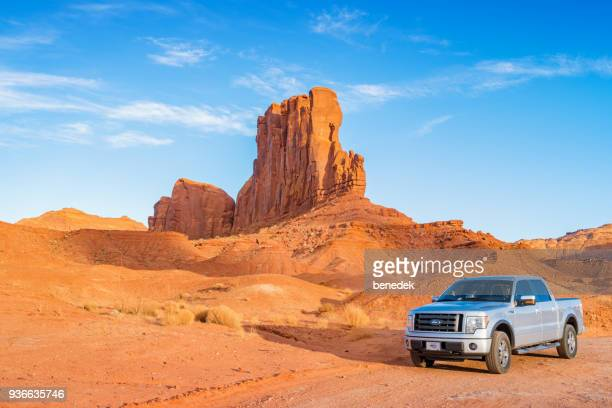 pickup truck at monument valley utah - ford motor company stock pictures, royalty-free photos & images