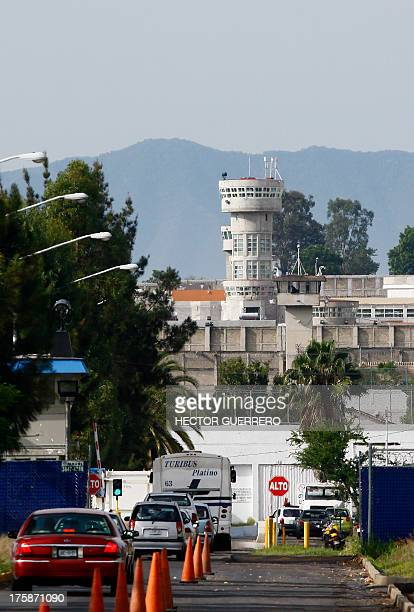 A pickup truck goes through a checkpoint at the Puente Grande State prison in Zapotlanejo Jalisco State Mexico on 9 August 2013 where former top...