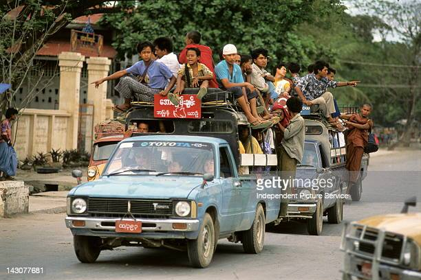Pickup trucks used for public transportation Myanmar