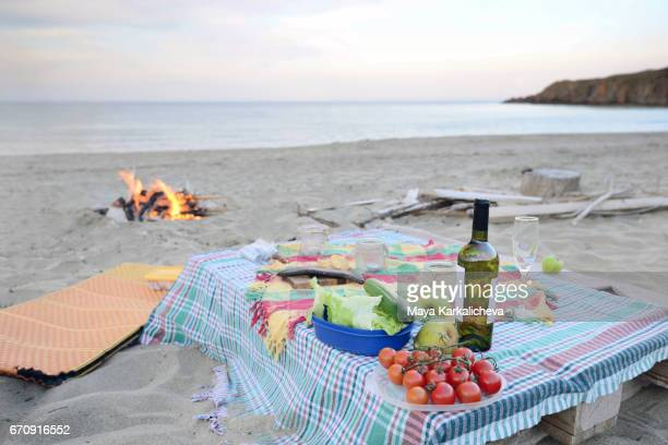 Picnic and a campfire by the sea shore