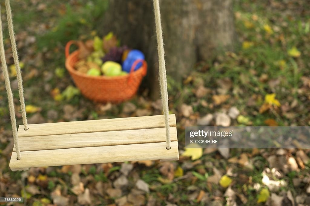 Picnic basket behind a wooden swing in front of a deciduous tree, close-up, selective focus : Stock Photo