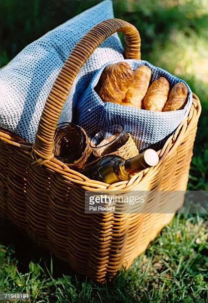 A picnic basket on a lawn.