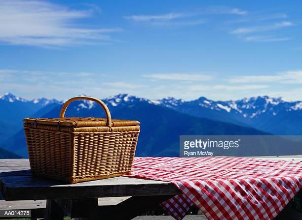 Picnic Basket on a Picnic Table on Hurricane Ridge