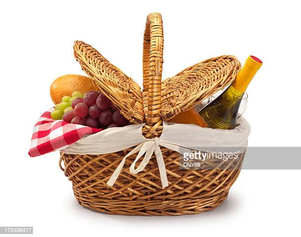 picnic basket - basket stock photos and pictures