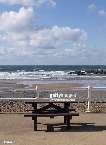 Picnic bench at the beach Cornwall UK