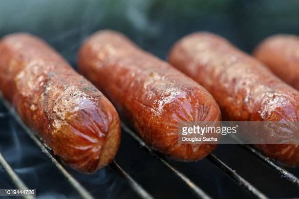 picnic grill with pork wieners - metal grate stock photos and pictures