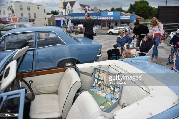 A picnic hamper on display on the back seat of a Triumph Herald during the Southend Classic Car Show along the seafront on June 17 2018 in Southend...