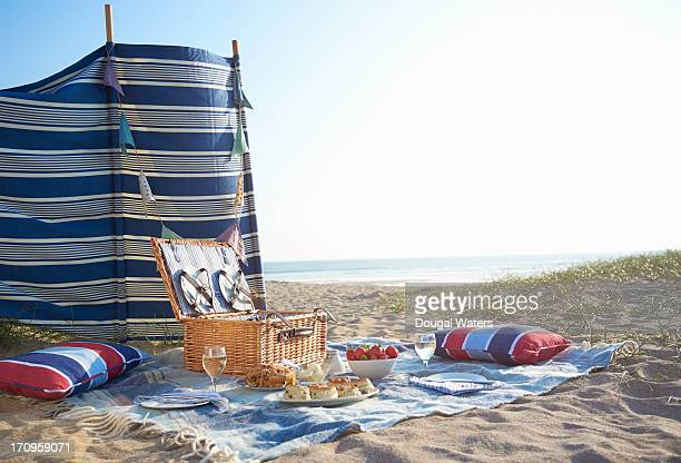 picnic layed out on beach. - hamper stock pictures, royalty-free photos & images