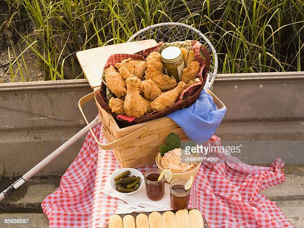 Picnic meal with fried chicken