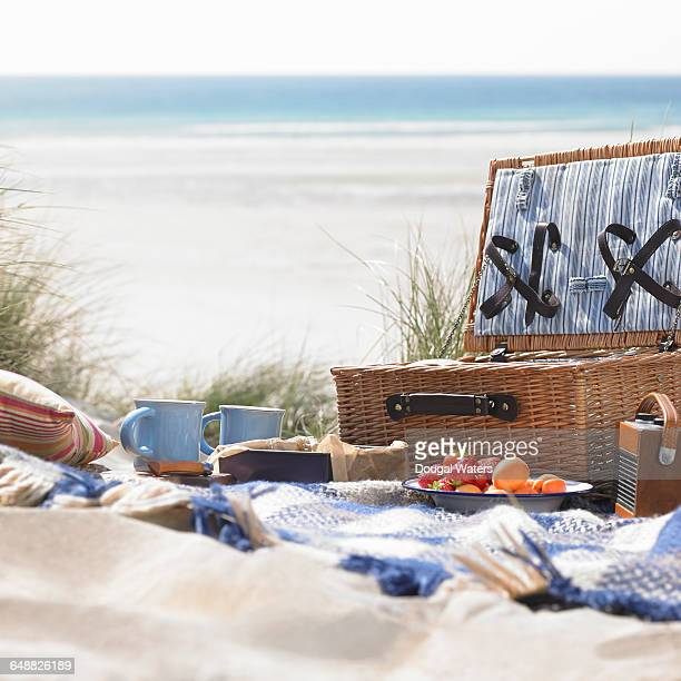picnic on beach. - hamper stock pictures, royalty-free photos & images