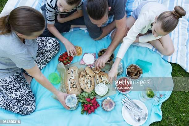 Picknick auf der Wiese Hände greifen nach Essen