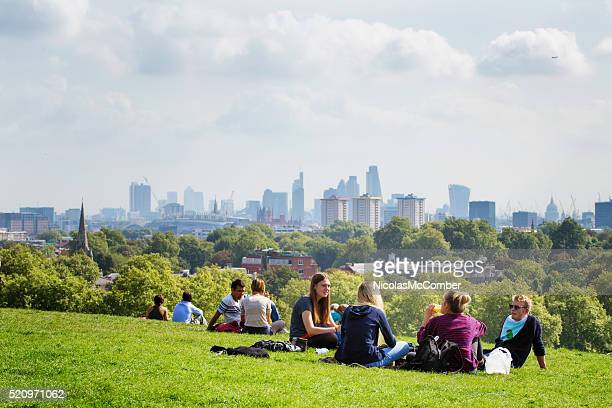 Picnic on Primrose Hill London UK