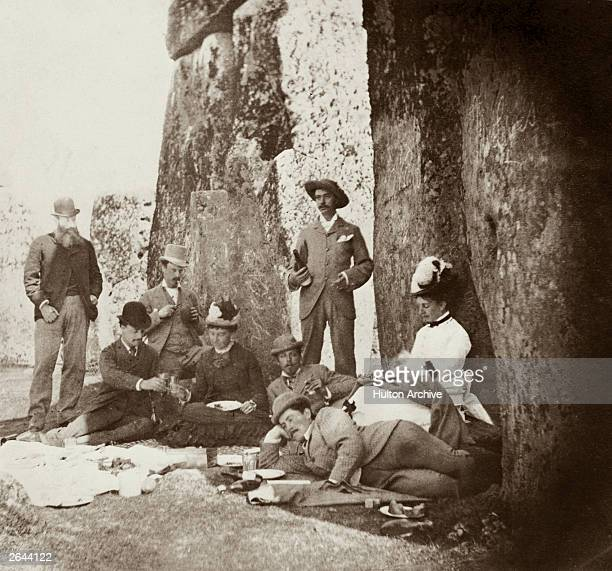 Picnic party at Stonehenge, including Queen Victoria's son Prince Leopold, Duke of Albany . From left to right, Colonel Campbell, Lord Brooke, R H...