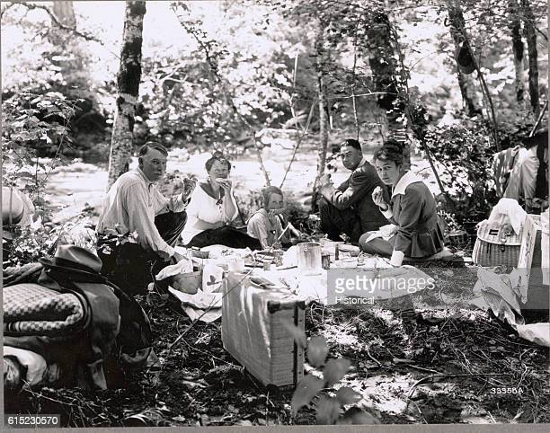 A picnic party at the Eagle Creek Campground in Mount Hood National Forest Oregon 1916 | Location Eagle Creek Campground Mount Hood National Forest...